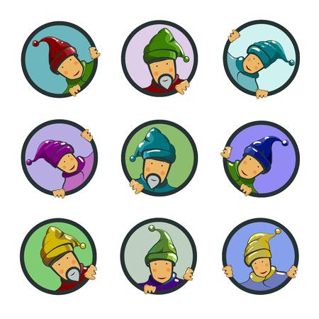 kabouters: Set van tekens, kabouters in cirkels