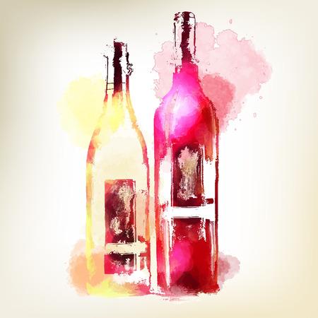 Rode en witte wijn in flessen. Aquarel spatten. Stock Illustratie