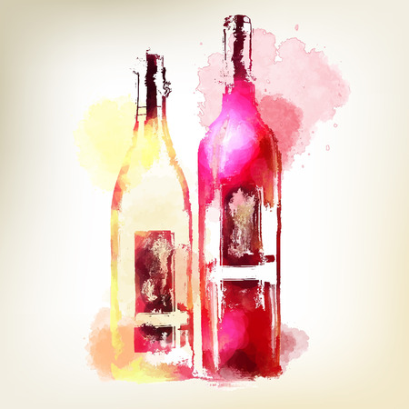 Red and white wine in bottles. Watercolor splashes.