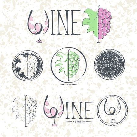 stopper: Set labels, wine with grapes, lettering and logo. Illustration