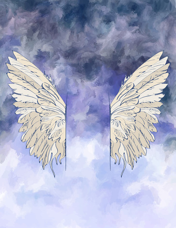 Watercolor background with wings. Vector