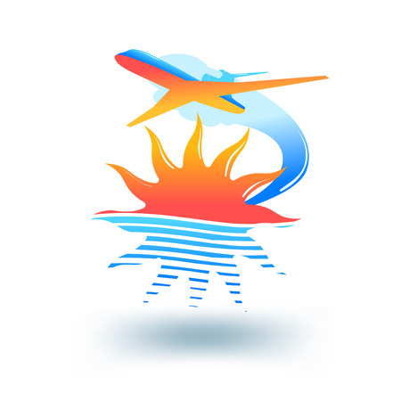 travel concept: Sun, sea and flying plane.