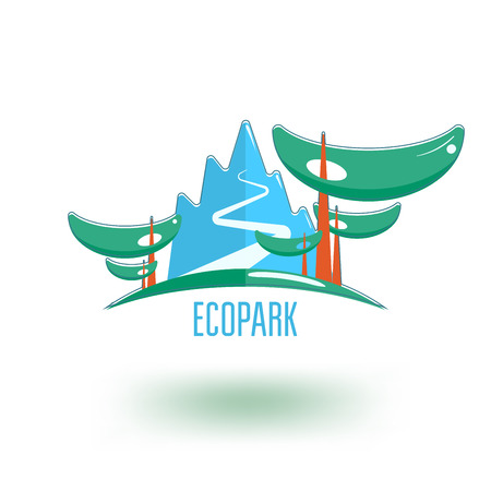 park icon: Ecological park icon template. Mountain road in the woods.