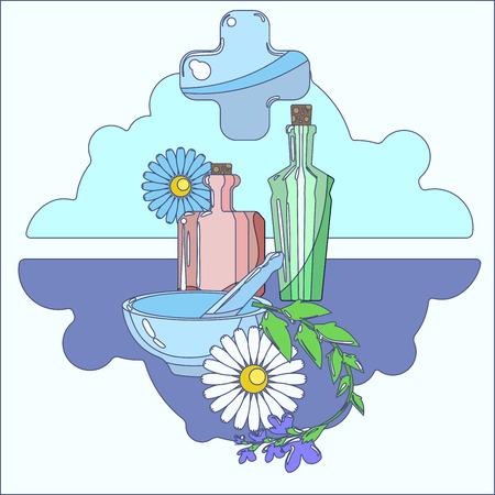 homeopathic: Set of symbols for homeopathic pharmacy. Line symbols. Illustration