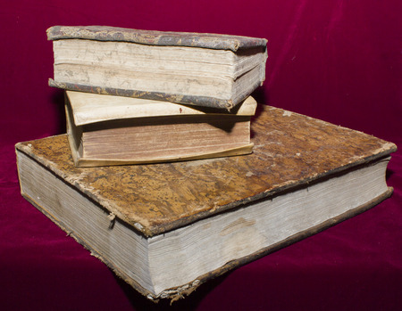 ancient books: Ancient books of the nineteenth century Stock Photo