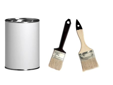 brush drawing: Paint and brushes Stock Photo