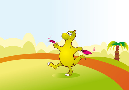 A small dinosaur learn to fly in the glade. Playing dinosaur. Vector illustration Stock Vector - 5136364