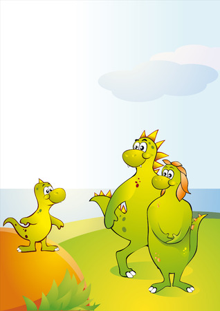 A small dinosaur with parents. Vector Illustration Stock Vector - 5136365