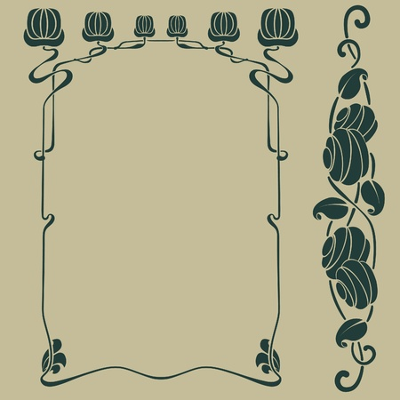 Art nouveau frame plus bonus design element Vector