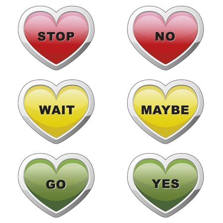 traffic signal: Heart buttons