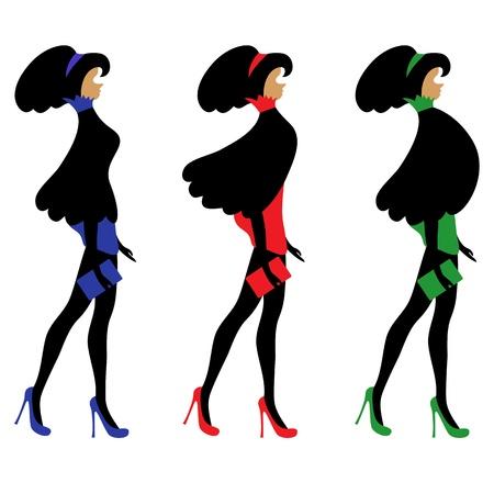 siluetas mujeres: Juego de siluetas de moda de las mujeres j�venes