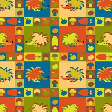 cartoon hedgehog: Funny vector seamless pattern