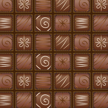 The chocolates arranged in a box as a seamless pattern Vector