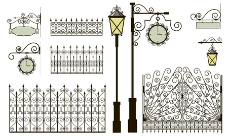 iron fence: Set of forged metal elements