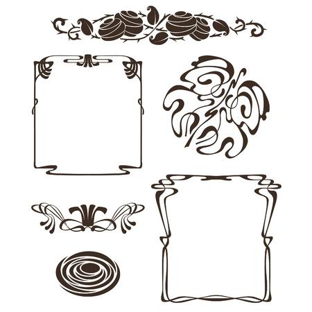 art nouveau frame: art nouveau design frames and elements Illustration