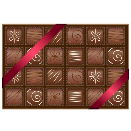 chocolate truffle: Box of chocolates Illustration
