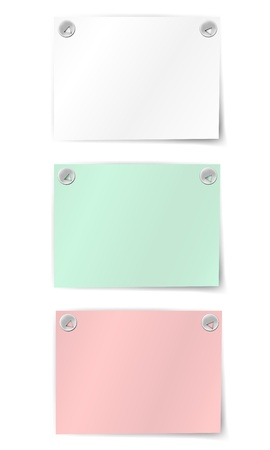 Set of colorful and white paper notes Vector