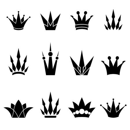 corona real: Juego de coronas logo Vectores