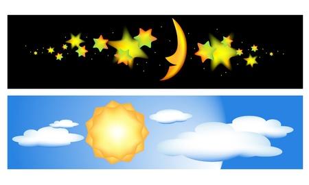 정오: 낮과 밤 그림 일러스트