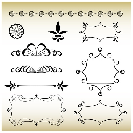 art nouveau design frames and elements Vector