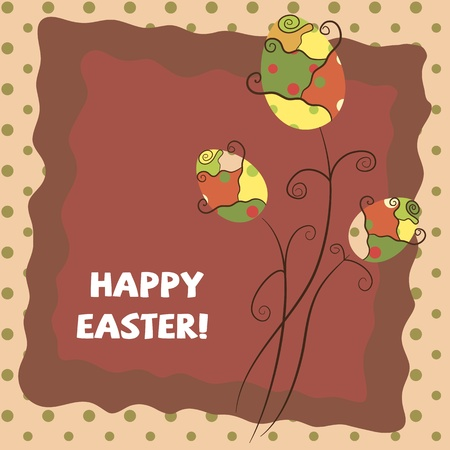 bunch flowers: warm Easter greeting card Illustration