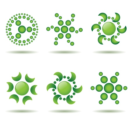 Set of green logos and design elements Stock Vector - 12374857