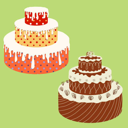 Set of cakes isolated on green  Vector
