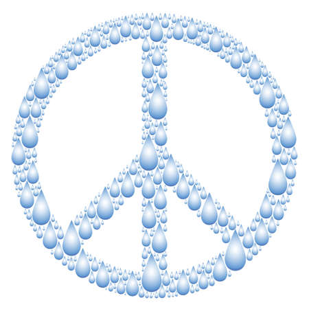 Peace sign shaped from water drops Stock Vector - 12494825