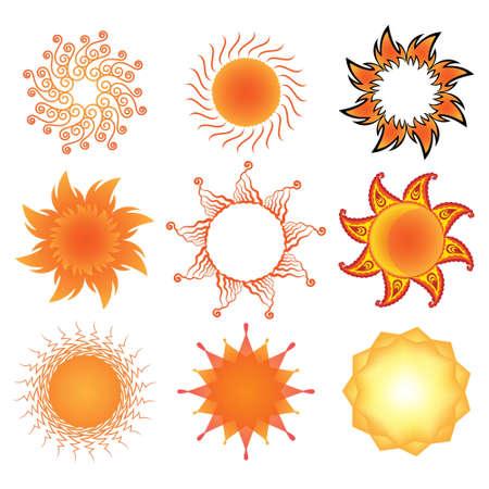 morning sunrise: Set of stylized  sun symbols
