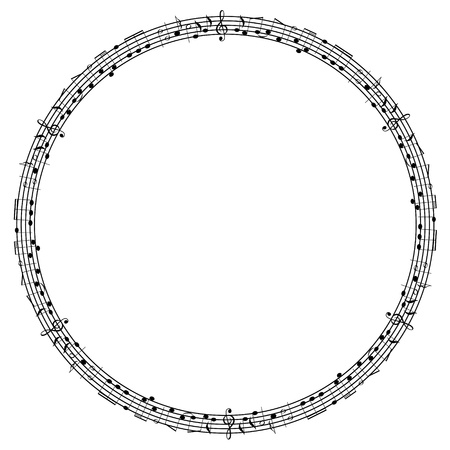 music sheet: Round notes frame Illustration