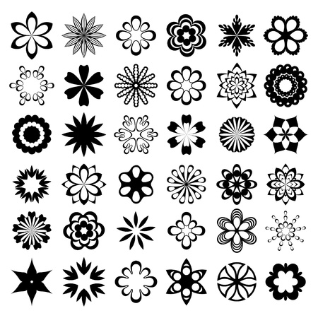 outline flower: Set of graphical flower elements