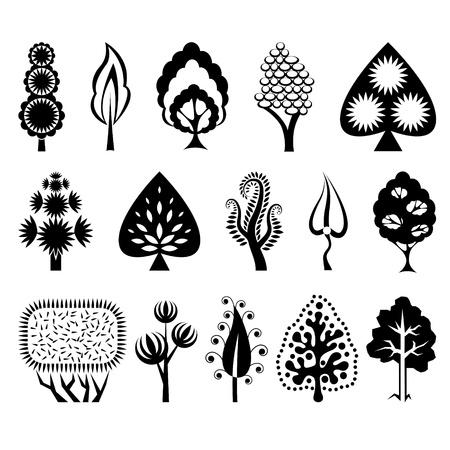 leafs: Set di alberi ornamentali Vettoriali