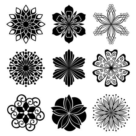 tatouage fleur: Ensemble de fleurs graphiques Illustration