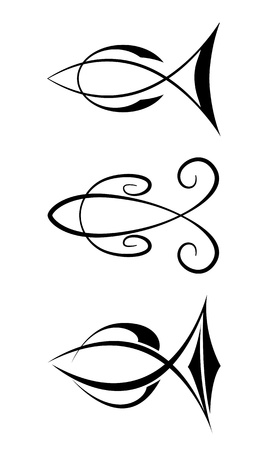 fish tail: Fish symbols Illustration
