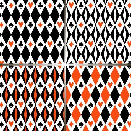 gambler: Four seamless patterns with suits