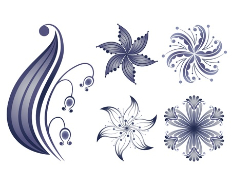 navy blue background: Collection of decorative flowers