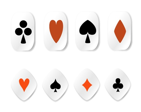 card suits symbol: vector set of card suit stickers isolated for a white background
