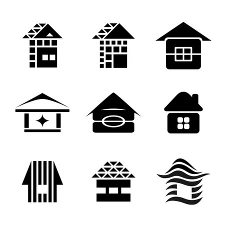 roofer: Vector collection of house icons and symbols