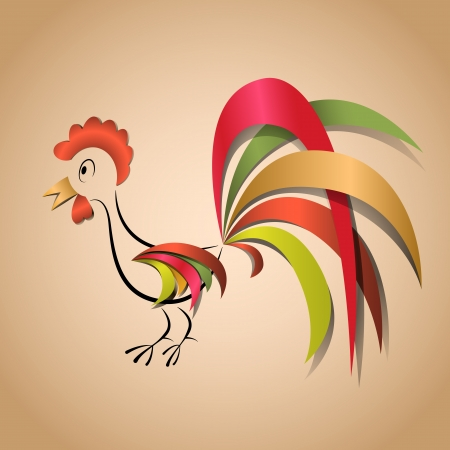 Paper cock application for any background Ilustração