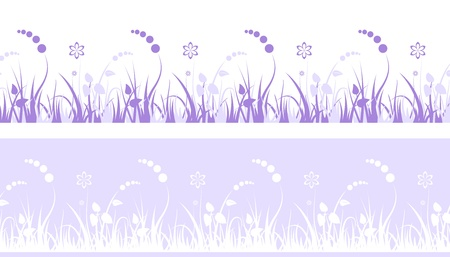 Seamless decorative grass with flowers Vector