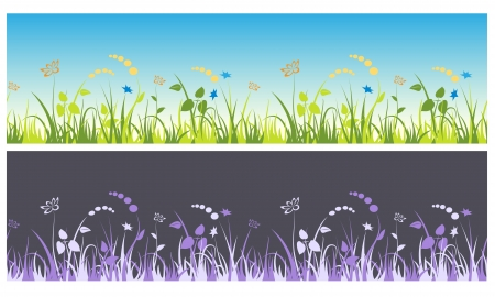 Seamless decorative grass with flowers Stock Vector - 13927856