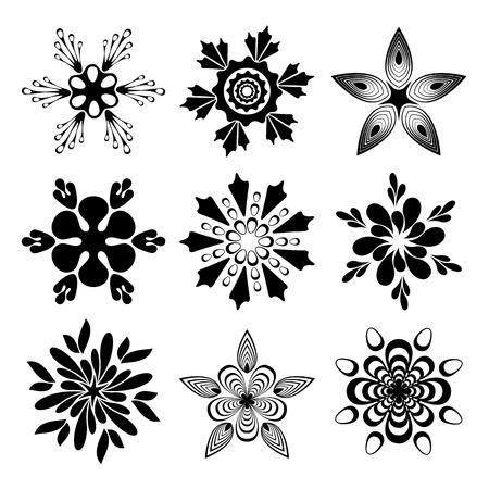 artistic flower: Set of creative flowers