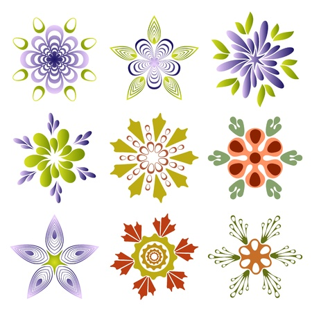 Set of creative flowers Vector