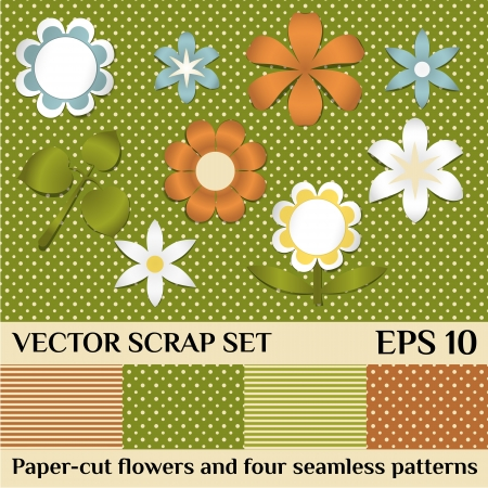 scrap set of paper-cur flowers and seamless patterns Vector