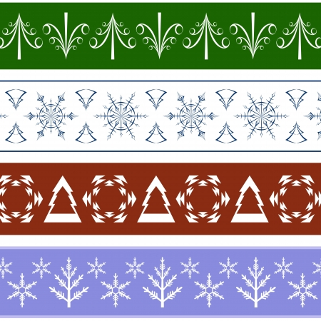 Collection of seamless Christmas Borders Vector