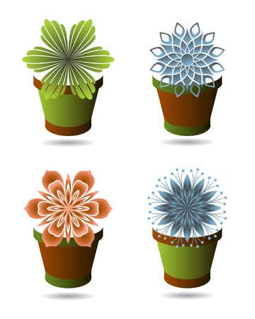 Set of flowerpots Vector