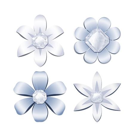 Diamond flowers Vector