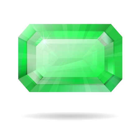 emerald gemstone: Vector isolated emerald