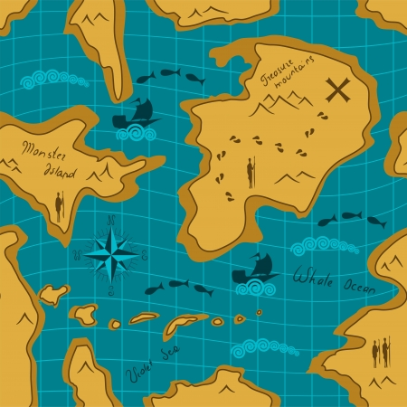 ancient map: Seamless adventure map pattern Illustration
