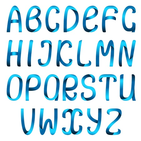 Blue ribbon alphabet set Stock Vector - 14581049